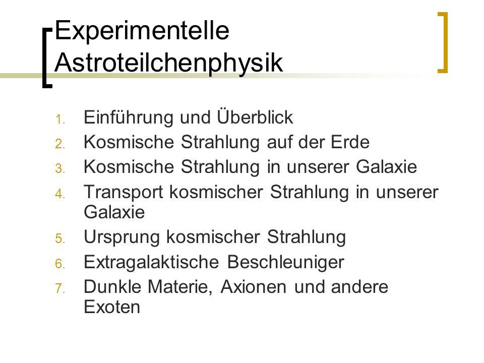 Experimentelle Astroteilchenphysik 1. Einführung und Überblick 2. Kosmische Strahlung auf der Erde 3. Kosmische Strahlung in unserer Galaxie 4. Transp