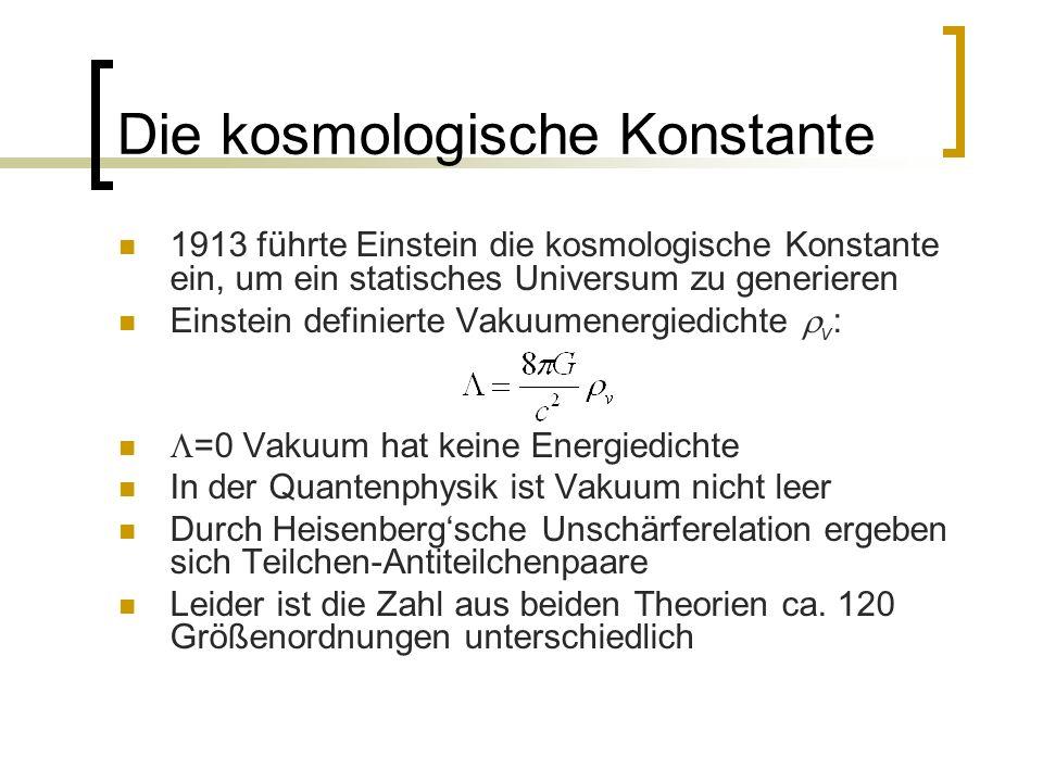 Die kosmologische Konstante 1913 führte Einstein die kosmologische Konstante ein, um ein statisches Universum zu generieren Einstein definierte Vakuum