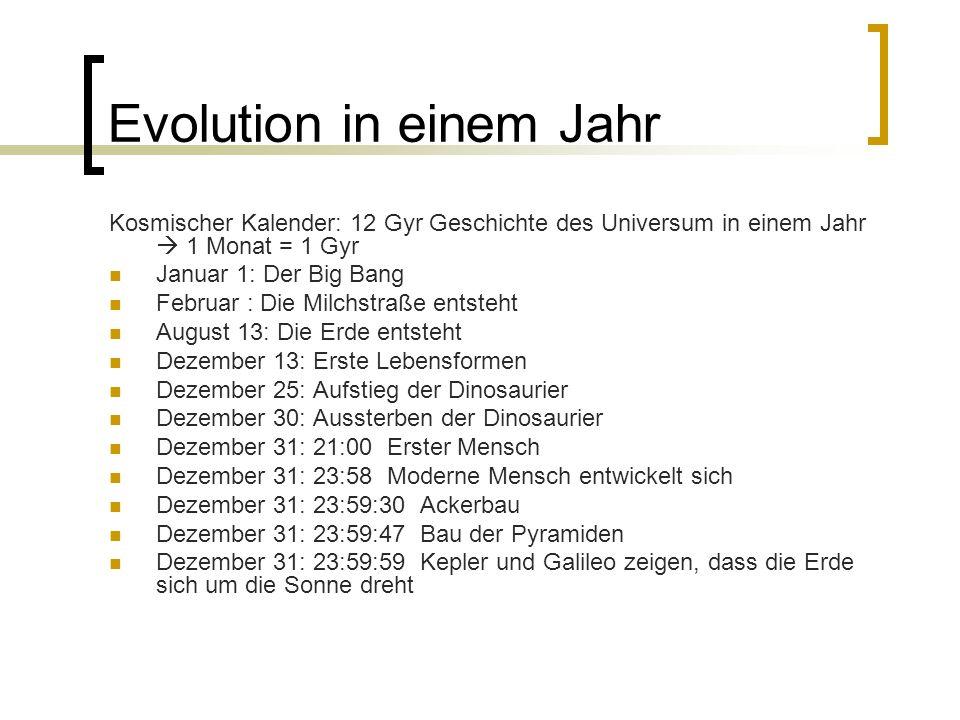 Evolution in einem Jahr Kosmischer Kalender: 12 Gyr Geschichte des Universum in einem Jahr 1 Monat = 1 Gyr Januar 1: Der Big Bang Februar : Die Milchs