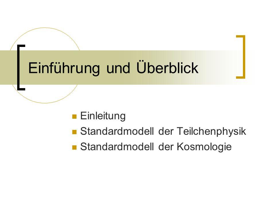 Einführung und Überblick Einleitung Standardmodell der Teilchenphysik Standardmodell der Kosmologie