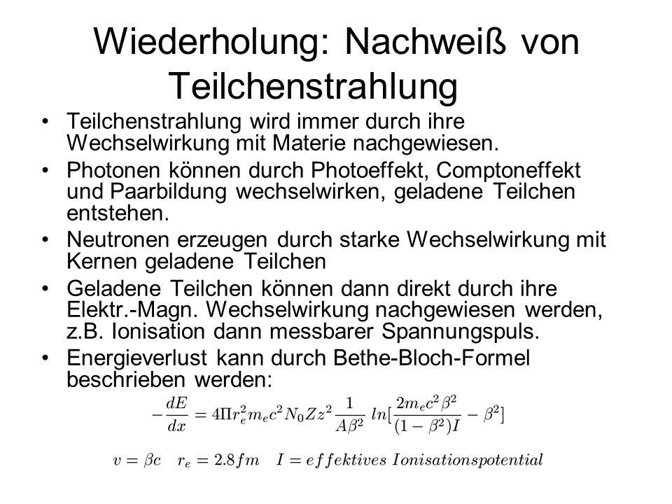 Ortssensitive Detektoren – Micro-Strip Detektor - Beispiel Abstände der readout Strips: ca 20μm Ortsauflösung: delta x = Abstand / 12, hier also ca.6 μm Operationsspannung: 160V Energieverlust: 36keV/100 μm 100 Elektron Loch Paare pro μm 280000 Elektronen bei Teilchendurchgang Totzeit: 10 ns