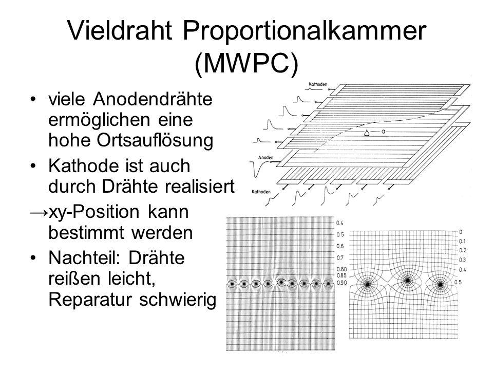 Driftkammern Driftkammern enthalten eine annähernd konstantes E-Feld e - driften mit v=const.