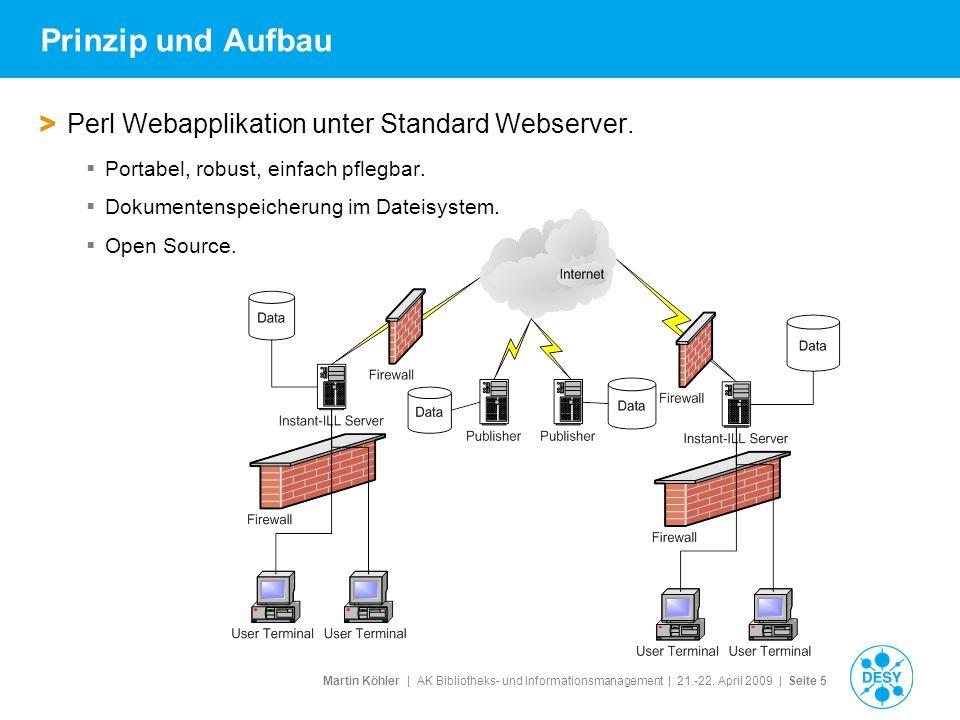 Martin Köhler   AK Bibliotheks- und Informationsmanagement   21.-22. April 2009   Seite 5 Prinzip und Aufbau > Perl Webapplikation unter Standard Webs