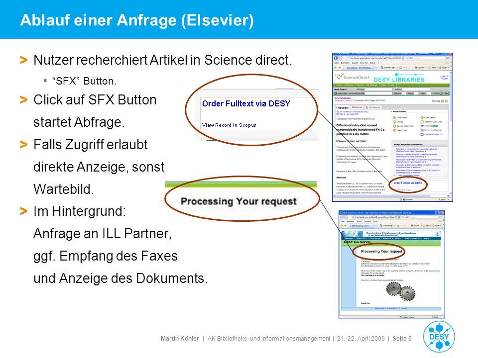 Martin Köhler   AK Bibliotheks- und Informationsmanagement   21.-22. April 2009   Seite 6 Ablauf einer Anfrage (Elsevier) > Nutzer recherchiert Artike