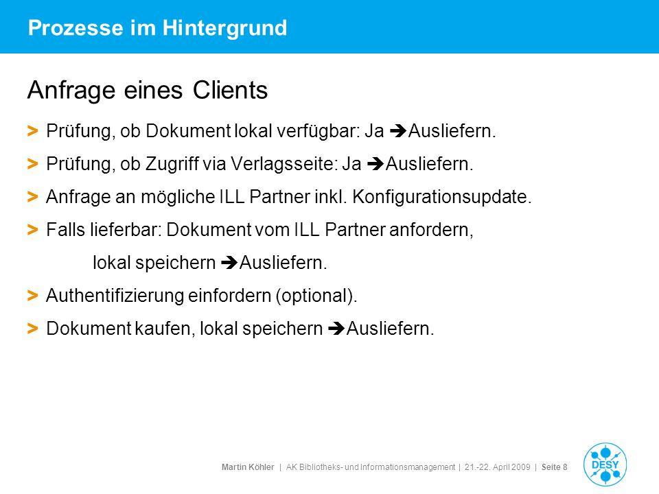 Martin Köhler   AK Bibliotheks- und Informationsmanagement   21.-22. April 2009   Seite 8 Prozesse im Hintergrund Anfrage eines Clients > Prüfung, ob