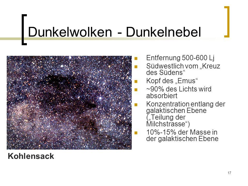 17 Dunkelwolken - Dunkelnebel Entfernung 500-600 Lj Südwestlich vom Kreuz des Südens Kopf des Emus ~90% des Lichts wird absorbiert Konzentration entla