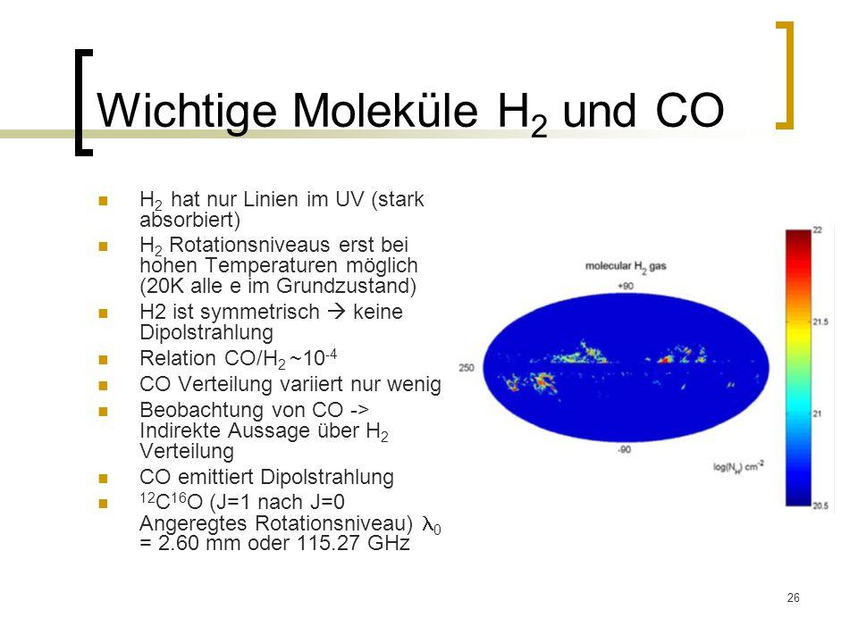 26 Wichtige Moleküle H 2 und CO H 2 hat nur Linien im UV (stark absorbiert) H 2 Rotationsniveaus erst bei hohen Temperaturen möglich (20K alle e im Gr