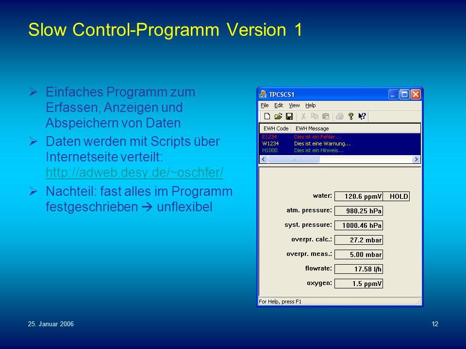 25. Januar 200612 Slow Control-Programm Version 1 Einfaches Programm zum Erfassen, Anzeigen und Abspeichern von Daten Daten werden mit Scripts über In