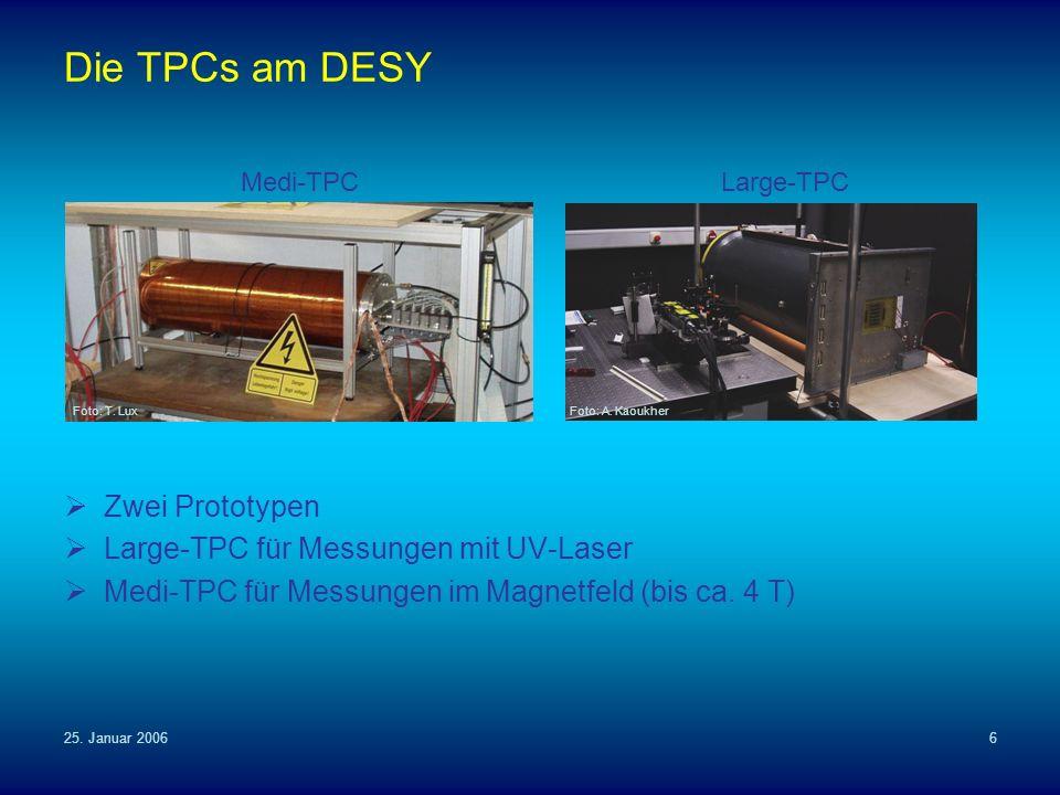 25. Januar 20066 Die TPCs am DESY Zwei Prototypen Large-TPC für Messungen mit UV-Laser Medi-TPC für Messungen im Magnetfeld (bis ca. 4 T) Medi-TPCLarg