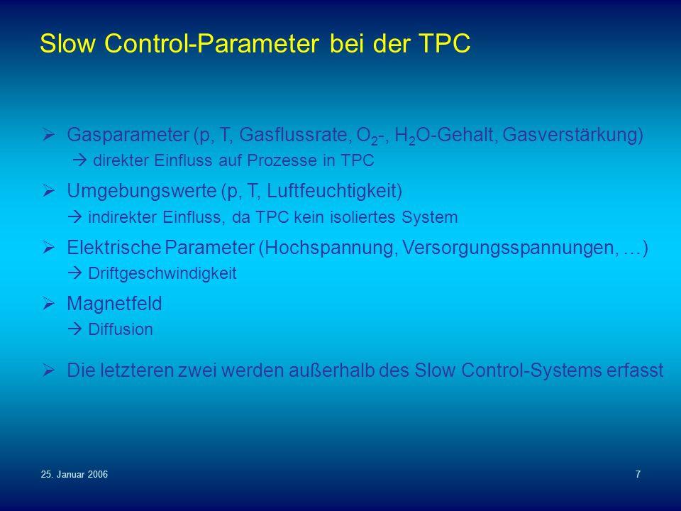 25. Januar 20067 Slow Control-Parameter bei der TPC Gasparameter (p, T, Gasflussrate, O 2 -, H 2 O-Gehalt, Gasverstärkung) direkter Einfluss auf Proze