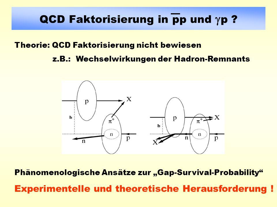 QCD Faktorisierung in pp und p .Experimentelle und theoretische Herausforderung .