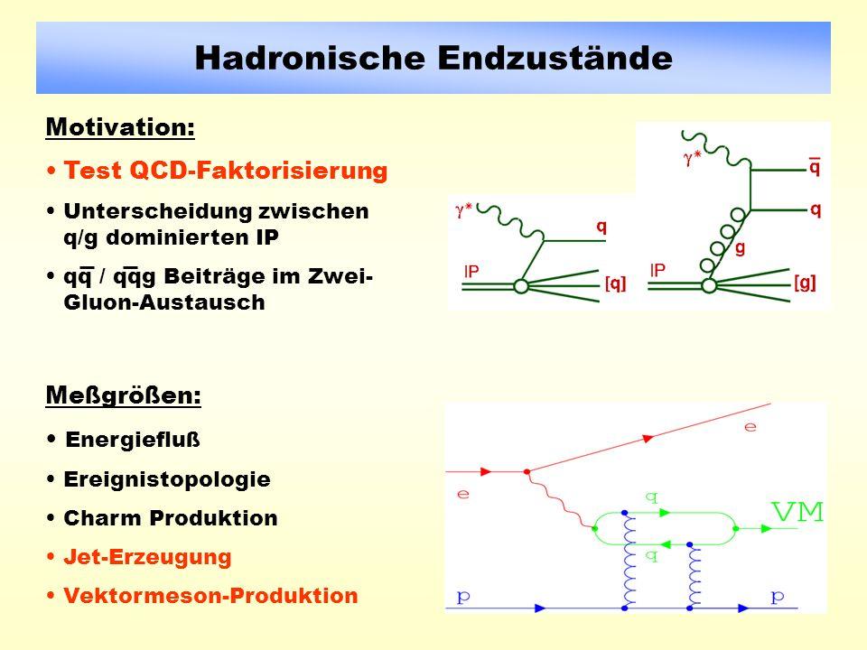 Hadronische Endzustände Motivation: Test QCD-Faktorisierung Unterscheidung zwischen q/g dominierten IP qq / qqg Beiträge im Zwei- Gluon-Austausch Meßgrößen: Energiefluß Ereignistopologie Charm Produktion Jet-Erzeugung Vektormeson-Produktion