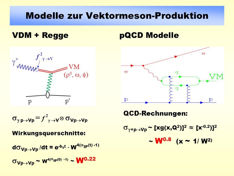 Modelle zur Vektormeson-Produktion VDM + ReggepQCD Modelle VM ( 0,, ) f 2 V * p p p p Vp = f 2 V Vp Vp Wirkungsquerschnitte: d Vp Vp /dt = e -b 0 t W 4( IP (t) -1) Vp Vp ~ W 4( IP (0) -1) ~ W 0.22 QCD-Rechnungen: p Vp ~ [xg(x,Q 2 )] 2 [x -0.2 )] 2 ~ W 0.8 (x ~ 1/ W 2)