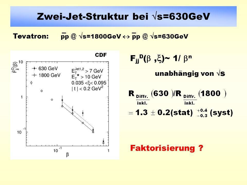 Zwei-Jet-Struktur bei s=630GeV F jj D (, )~ 1/ n unabhängig von s Faktorisierung .