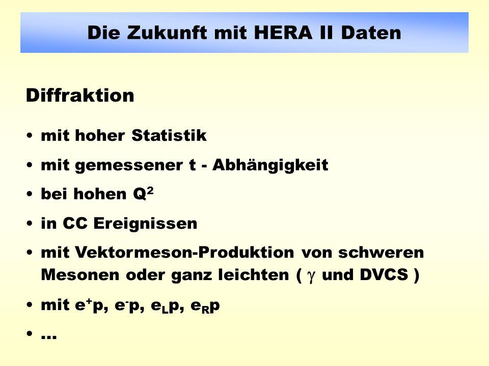 Die Zukunft mit HERA II Daten mit hoher Statistik mit gemessener t - Abhängigkeit bei hohen Q 2 in CC Ereignissen mit Vektormeson-Produktion von schweren Mesonen oder ganz leichten ( und DVCS ) mit e + p, e - p, e L p, e R p...