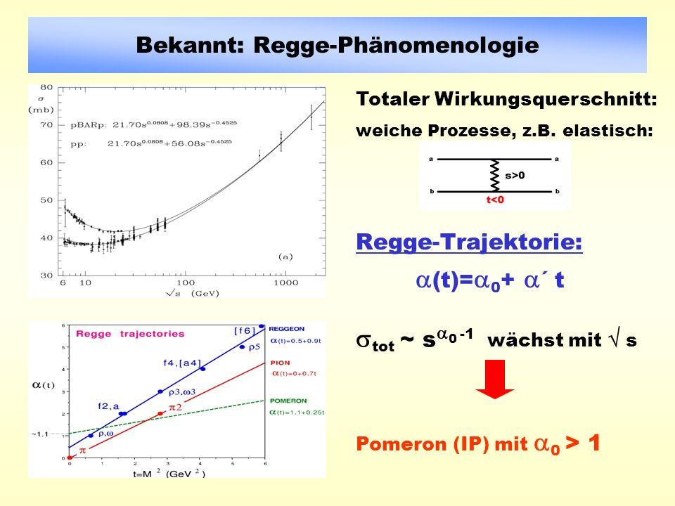 Bekannt: Regge-Phänomenologie Regge-Trajektorie: (t)= 0 + ´ t tot ~ s 0 -1 wächst mit s Totaler Wirkungsquerschnitt: weiche Prozesse, z.B.