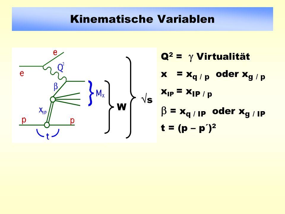 Kinematische Variablen Q 2 = Virtualität x = x q / p oder x g / p x IP = x IP / p = x q / IP oder x g / IP t = (p – p´) 2 W s