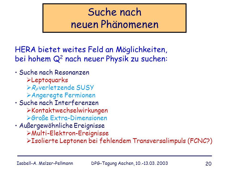 Isabell-A. Melzer-Pellmann DPG-Tagung Aachen, 10.-13.03. 2003 20 Suche nach neuen Phänomenen HERA bietet weites Feld an Möglichkeiten, bei hohem Q 2 n