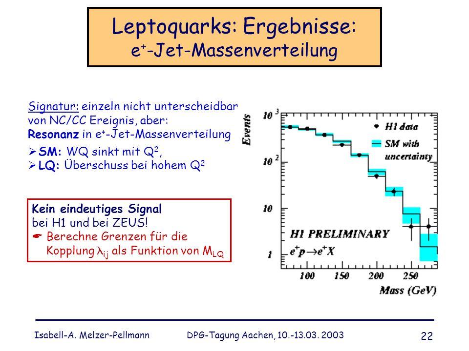 Isabell-A. Melzer-Pellmann DPG-Tagung Aachen, 10.-13.03. 2003 22 Leptoquarks: Ergebnisse: e + -Jet-Massenverteilung Signatur: einzeln nicht unterschei