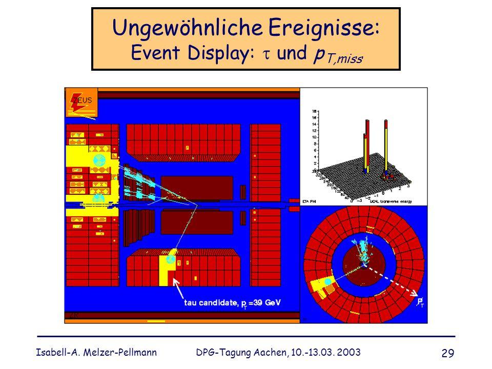 Isabell-A. Melzer-Pellmann DPG-Tagung Aachen, 10.-13.03. 2003 29 Ungewöhnliche Ereignisse: Event Display: und p T,miss