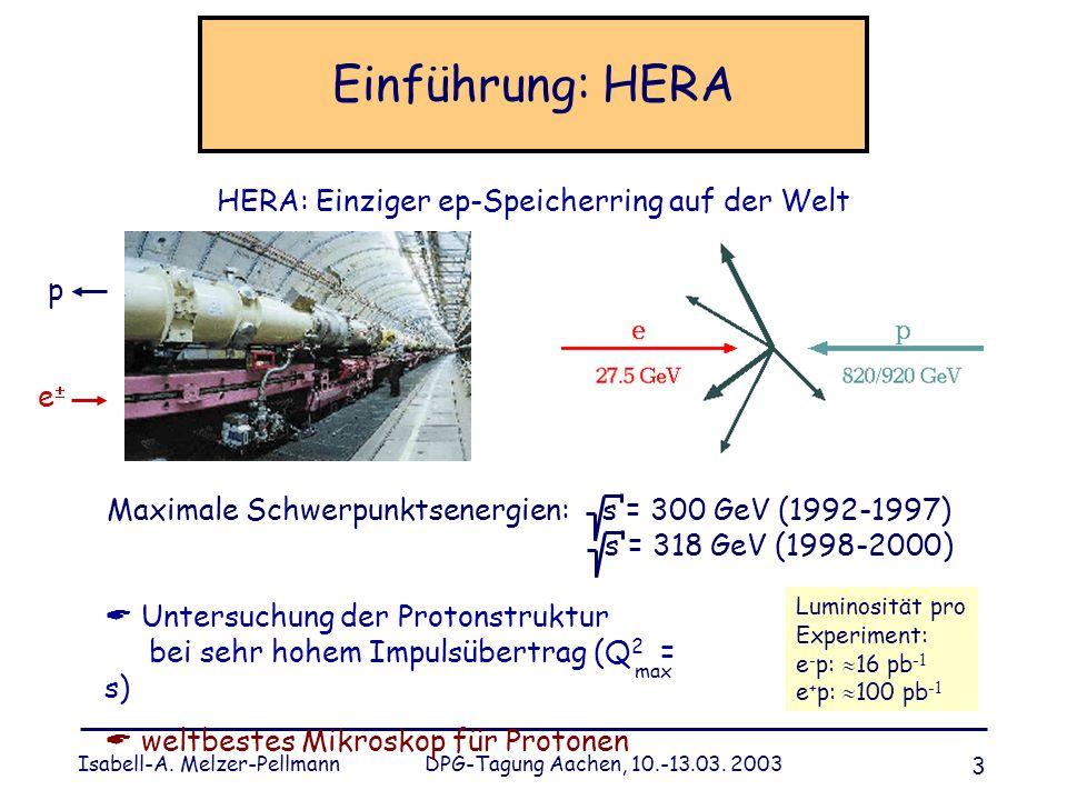 Isabell-A. Melzer-Pellmann DPG-Tagung Aachen, 10.-13.03. 2003 3 Einführung: HERA HERA: Einziger ep-Speicherring auf der Welt p e Maximale Schwerpunkts