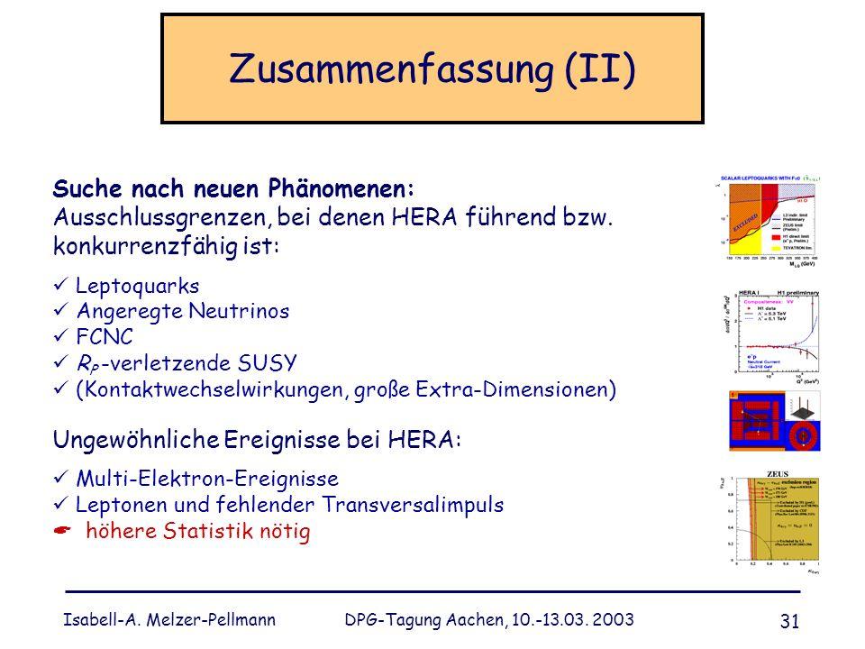 Isabell-A. Melzer-Pellmann DPG-Tagung Aachen, 10.-13.03. 2003 31 Zusammenfassung (II) Suche nach neuen Phänomenen: Ausschlussgrenzen, bei denen HERA f