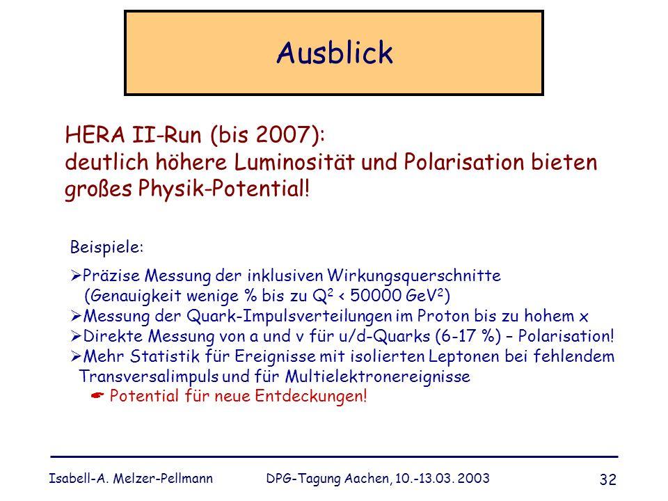 Isabell-A. Melzer-Pellmann DPG-Tagung Aachen, 10.-13.03. 2003 32 Ausblick Beispiele: Präzise Messung der inklusiven Wirkungsquerschnitte (Genauigkeit