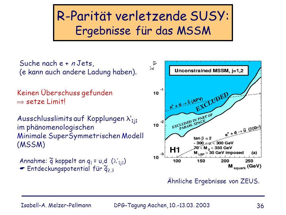 Isabell-A. Melzer-Pellmann DPG-Tagung Aachen, 10.-13.03. 2003 36 R-Parität verletzende SUSY: Ergebnisse für das MSSM Suche nach e + n Jets, (e kann au