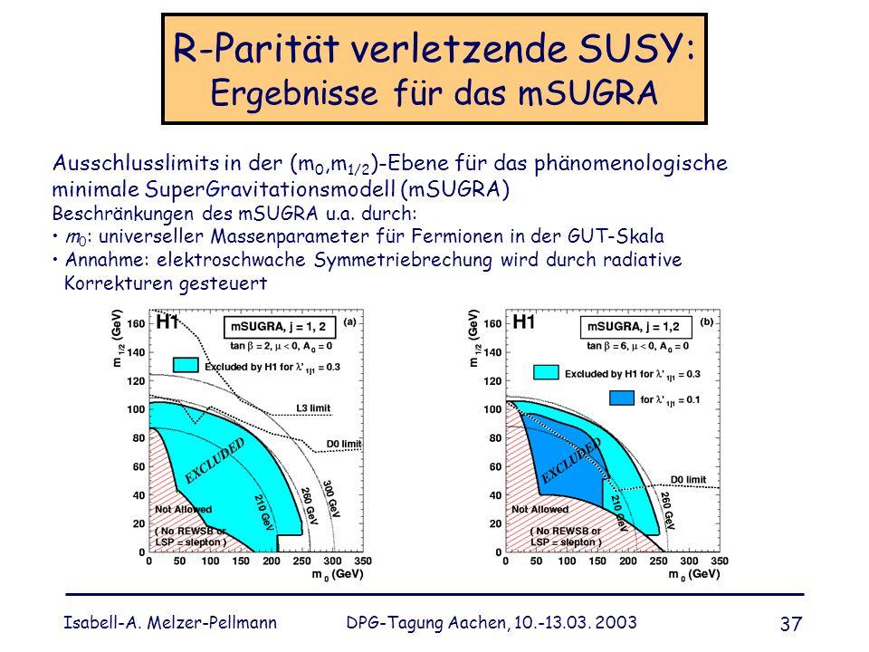 Isabell-A. Melzer-Pellmann DPG-Tagung Aachen, 10.-13.03. 2003 37 R-Parität verletzende SUSY: Ergebnisse für das mSUGRA Ausschlusslimits in der (m 0,m