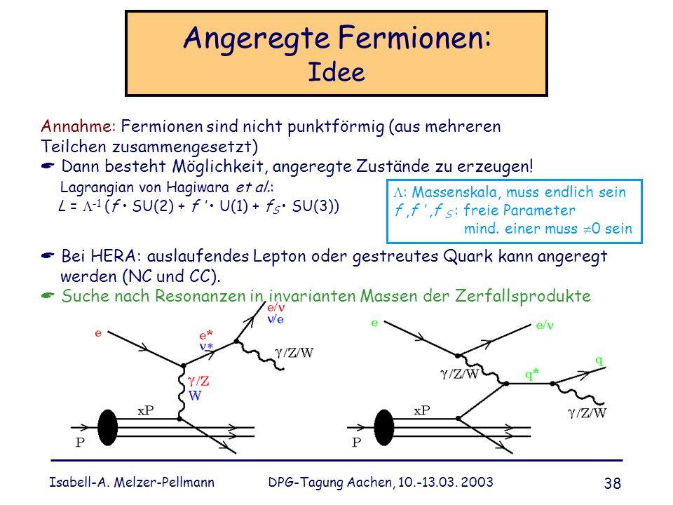 Isabell-A. Melzer-Pellmann DPG-Tagung Aachen, 10.-13.03. 2003 38 Angeregte Fermionen: Idee Bei HERA: auslaufendes Lepton oder gestreutes Quark kann an