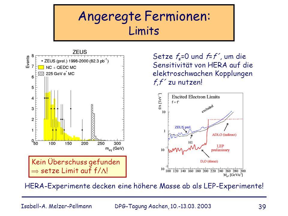 Isabell-A. Melzer-Pellmann DPG-Tagung Aachen, 10.-13.03. 2003 39 Angeregte Fermionen: Limits Kein Überschuss gefunden setze Limit auf f/ ! HERA-Experi