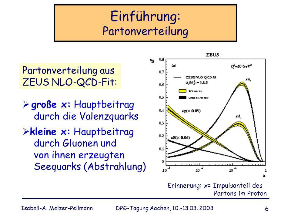 Isabell-A. Melzer-Pellmann DPG-Tagung Aachen, 10.-13.03. 2003 6 Einführung: Partonverteilung große x: Hauptbeitrag durch die Valenzquarks kleine x: Ha