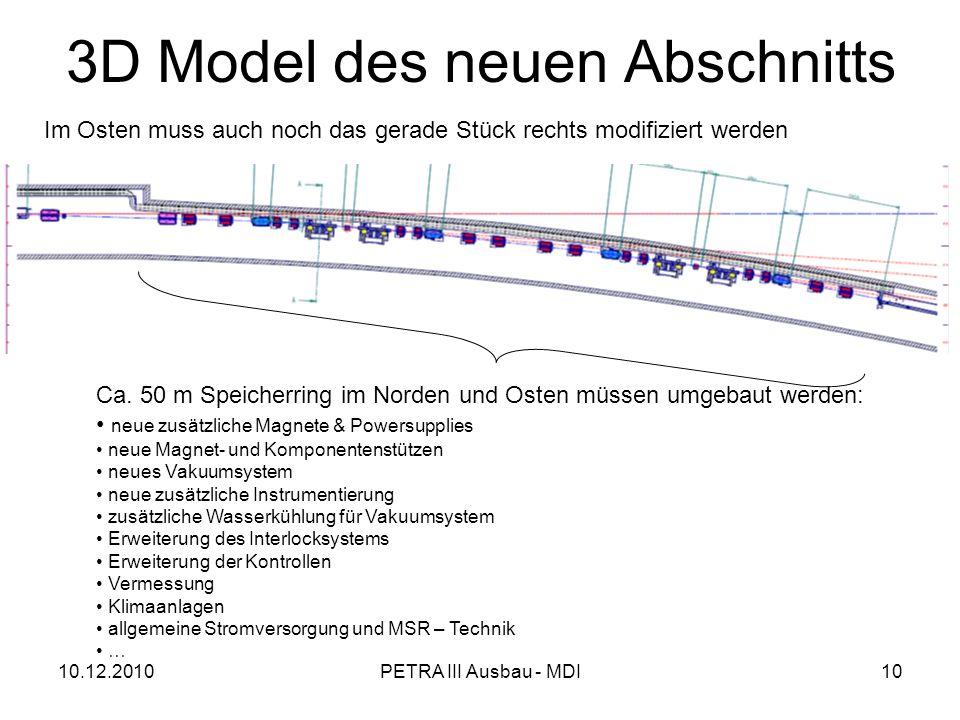 10.12.2010PETRA III Ausbau - MDI10 3D Model des neuen Abschnitts Ca.