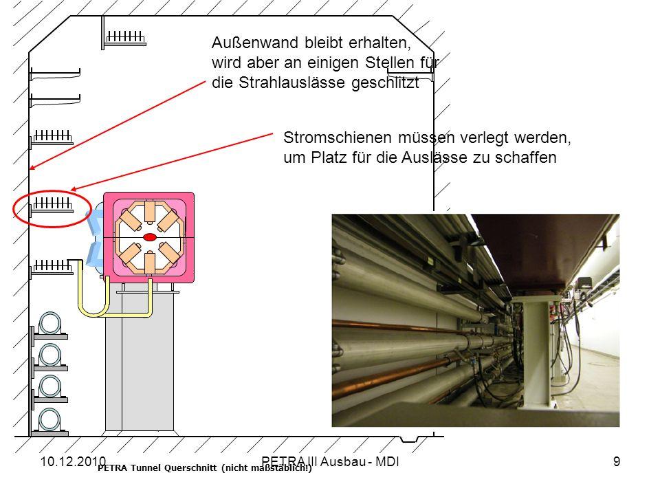 10.12.2010PETRA III Ausbau - MDI9 PETRA Tunnel Querschnitt (nicht maßstäblich!) Stromschienen müssen verlegt werden, um Platz für die Auslässe zu schaffen Außenwand bleibt erhalten, wird aber an einigen Stellen für die Strahlauslässe geschlitzt