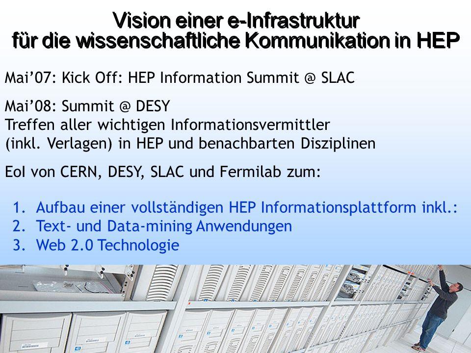 1.Aufbau einer vollständigen HEP Informationsplattform inkl.: 2.Text- und Data-mining Anwendungen 3.Web 2.0 Technologie Mai07: Kick Off: HEP Information Summit @ SLAC Mai08: Summit @ DESY Treffen aller wichtigen Informationsvermittler (inkl.