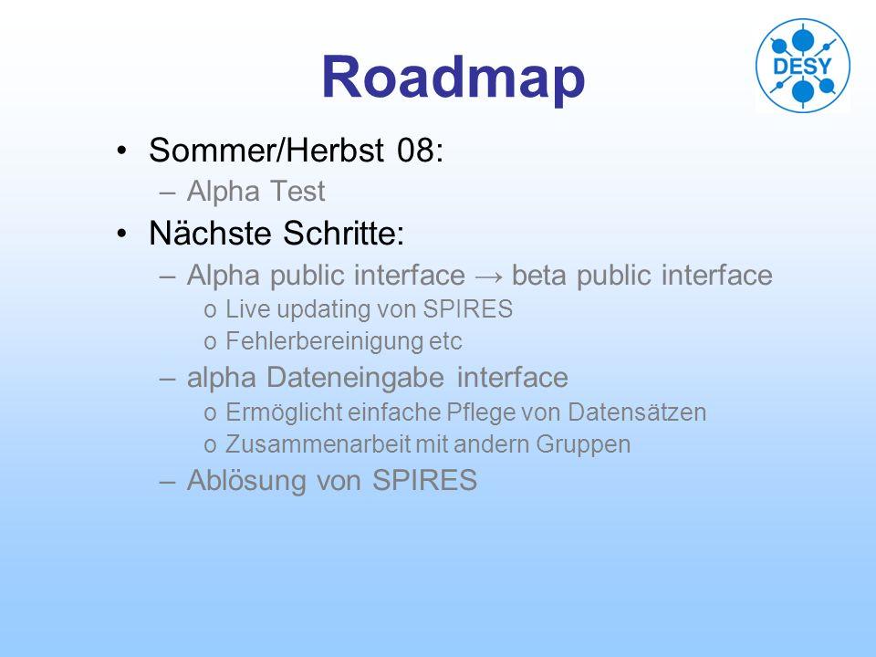 Roadmap Sommer/Herbst 08: –Alpha Test Nächste Schritte: –Alpha public interface beta public interface oLive updating von SPIRES oFehlerbereinigung etc –alpha Dateneingabe interface oErmöglicht einfache Pflege von Datensätzen oZusammenarbeit mit andern Gruppen –Ablösung von SPIRES