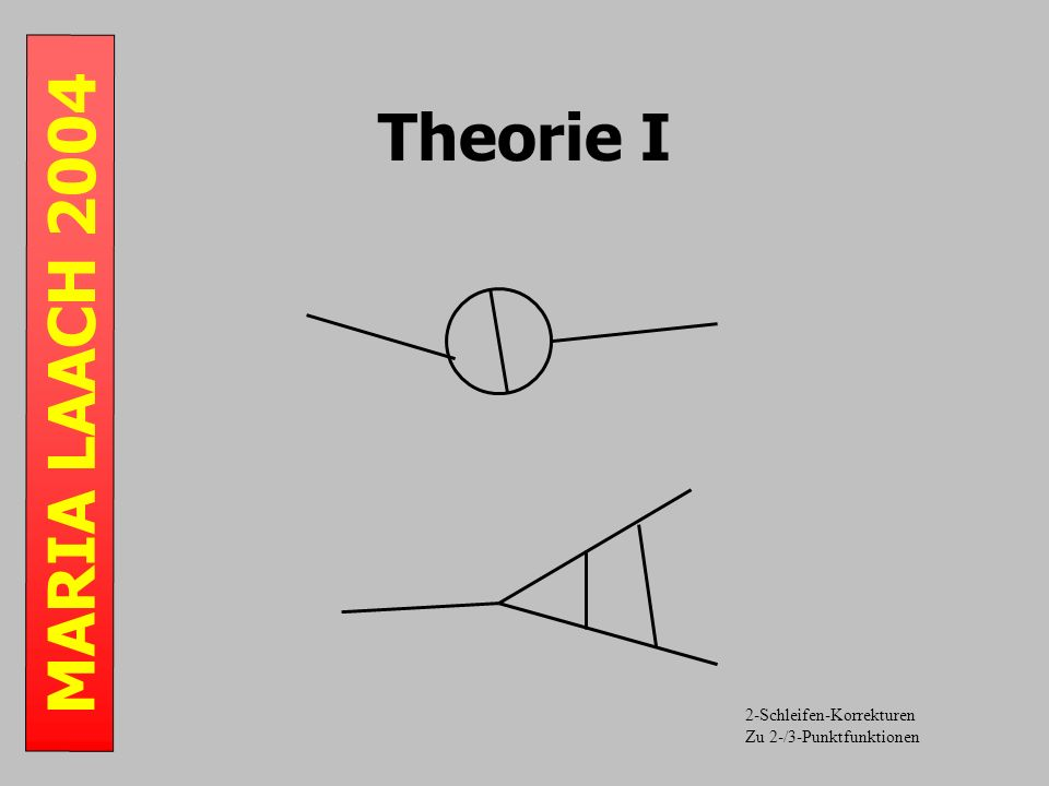 MARIA LAACH 2004 Theorie I 2-Schleifen-Korrekturen Zu 2-/3-Punktfunktionen