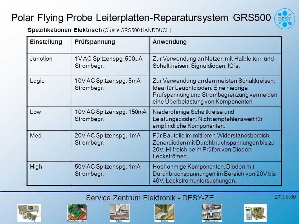 Polar Flying Probe Leiterplatten-Reparatursystem GRS500 Service Zentrum Elektronik - DESY-ZE 27.10.09 Spezifikationen Elektrisch (Quelle GRS500 HANDBUCH) EinstellungPrüfspannungAnwendung Junction1V AC Spitzenspg.