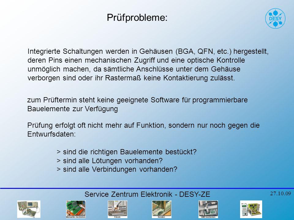 Prüfprobleme: Service Zentrum Elektronik - DESY-ZE 27.10.09 Integrierte Schaltungen werden in Gehäusen (BGA, QFN, etc.) hergestellt, deren Pins einen