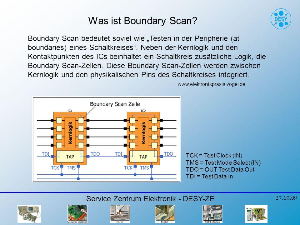 JTAG/ Boundary Scan Voraussetzungen: Service Zentrum Elektronik - DESY-ZE 27.10.09 Mindestens ein Boundary Scan-fähiges Bauelement Netzliste / Partlisten / Layout-Daten / Schaltplan Modelle für BScan IC´s (BSDL Files) und Non-BScan IC´s (BSDM Files) Boundary Scan muss im Schaltungsdesign vorgesehen sein