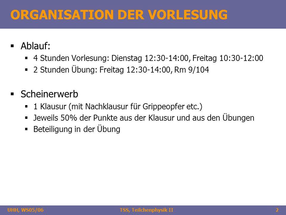 UHH, WS05/06 TSS, Teilchenphysik II2 ORGANISATION DER VORLESUNG Ablauf: 4 Stunden Vorlesung: Dienstag 12:30-14:00, Freitag 10:30-12:00 2 Stunden Übung: Freitag 12:30-14:00, Rm 9/104 Scheinerwerb 1 Klausur (mit Nachklausur für Grippeopfer etc.) Jeweils 50% der Punkte aus der Klausur und aus den Übungen Beteiligung in der Übung