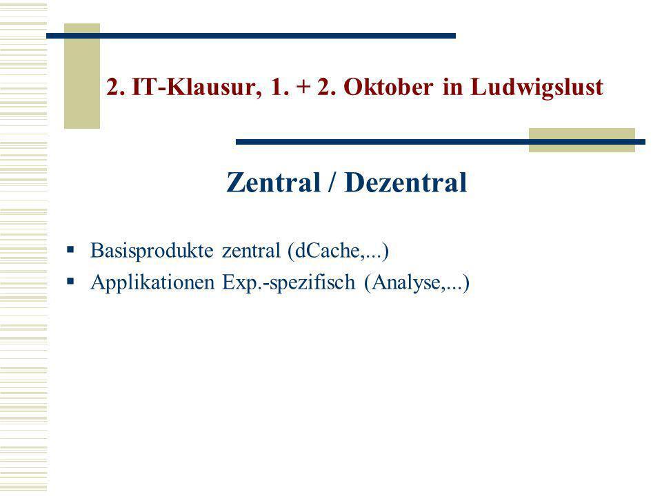 Zentral / Dezentral Basisprodukte zentral (dCache,...) Applikationen Exp.-spezifisch (Analyse,...) 2.