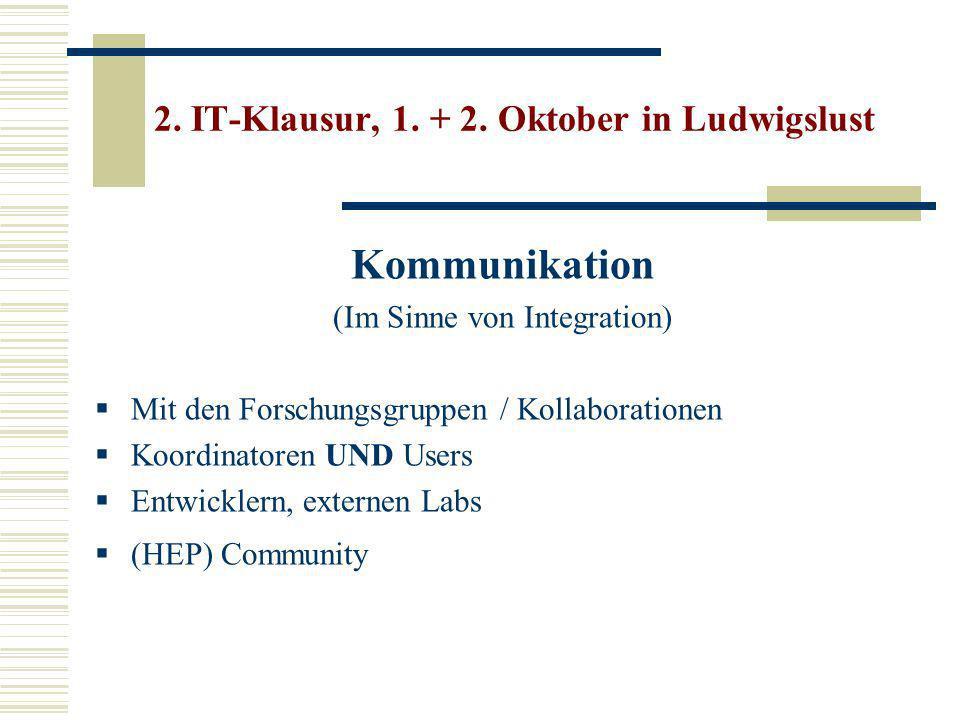 Kommunikation (Im Sinne von Integration) Mit den Forschungsgruppen / Kollaborationen Koordinatoren UND Users Entwicklern, externen Labs (HEP) Community