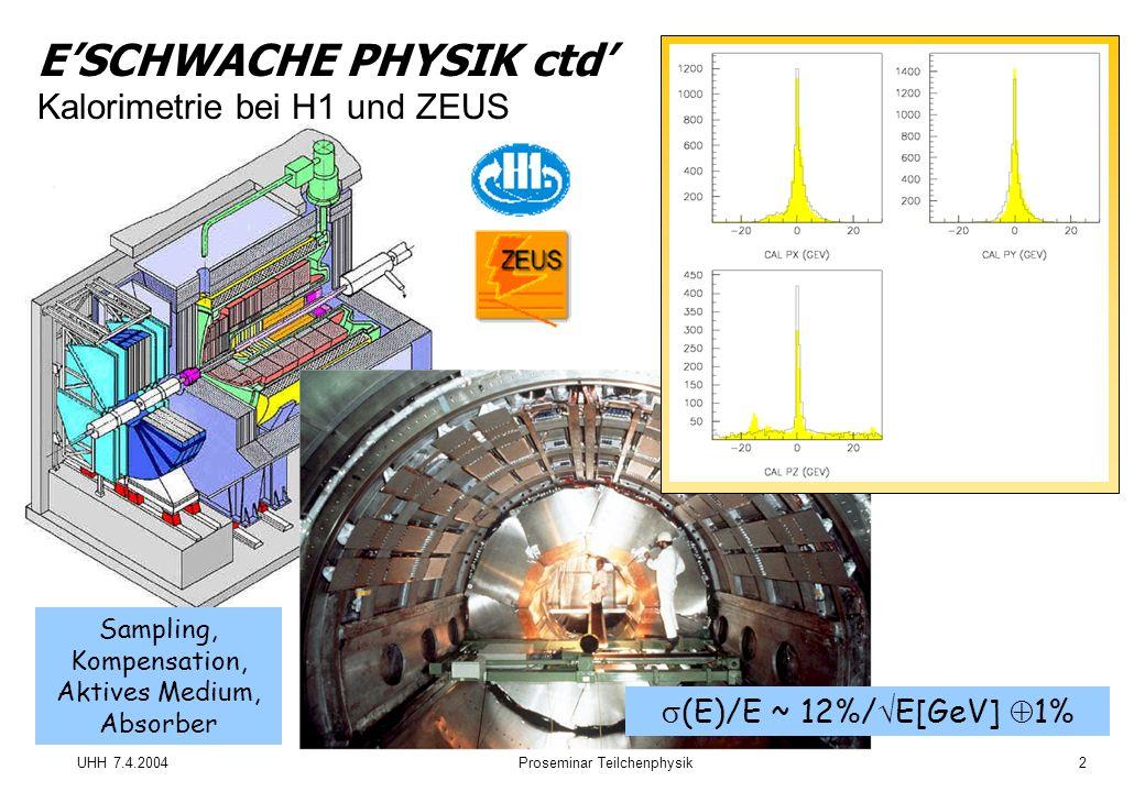 UHH 7.4.2004Proseminar Teilchenphysik2 ESCHWACHE PHYSIK ctd Kalorimetrie bei H1 und ZEUS (E)/E ~ 12%/ E[GeV] 1% Sampling, Kompensation, Aktives Medium, Absorber