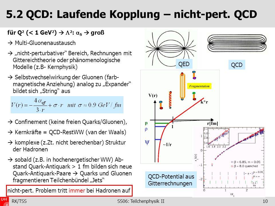 RK/TSS SS06: Teilchenphysik II10 5.2 QCD: Laufende Kopplung – nicht-pert. QCD für Q 2 (< 1 GeV 2 ) 2 : S groß Multi-Gluonenaustausch nicht-perturbativ