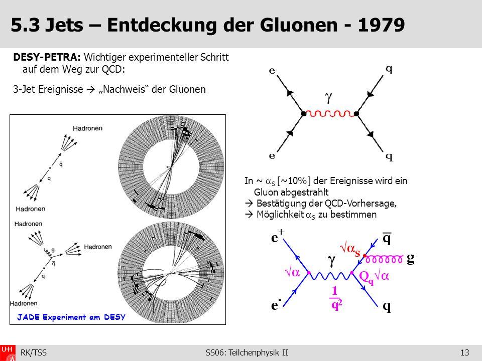 RK/TSS SS06: Teilchenphysik II13 5.3 Jets – Entdeckung der Gluonen - 1979 DESY-PETRA: Wichtiger experimenteller Schritt auf dem Weg zur QCD: 3-Jet Ere