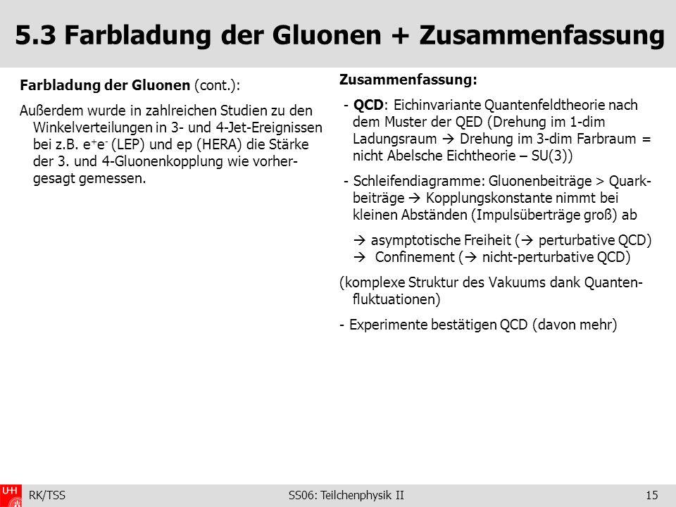 RK/TSS SS06: Teilchenphysik II15 5.3 Farbladung der Gluonen + Zusammenfassung Zusammenfassung: - QCD: Eichinvariante Quantenfeldtheorie nach dem Muste