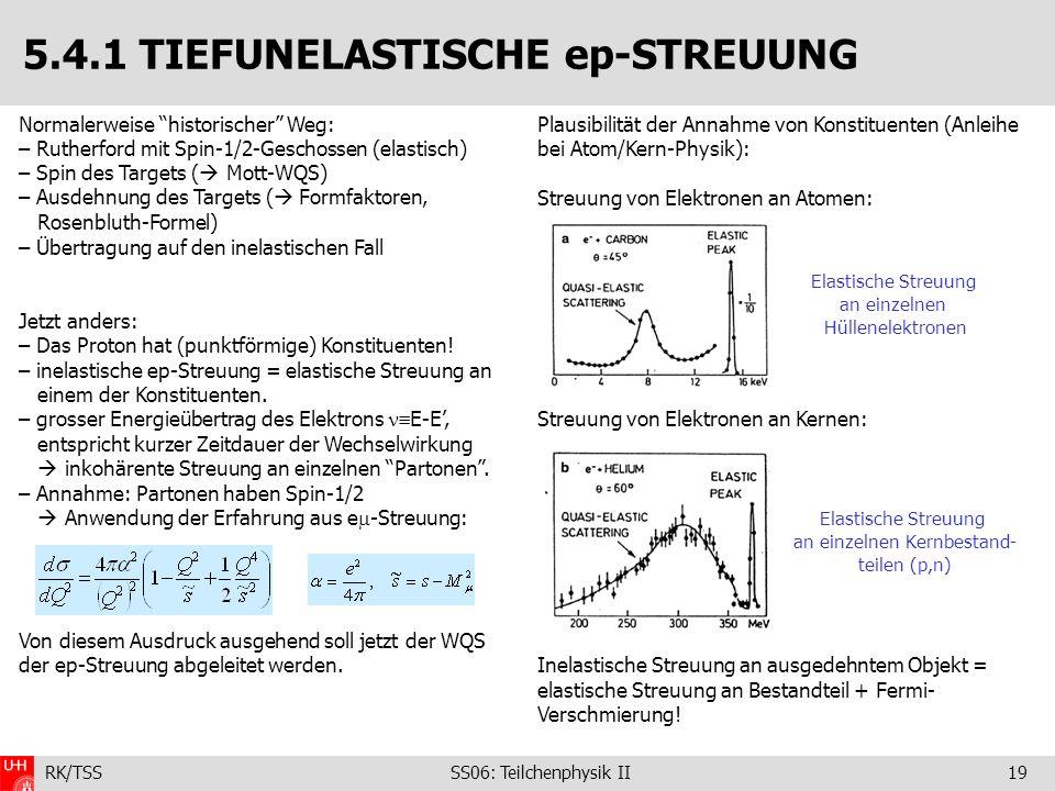 RK/TSS SS06: Teilchenphysik II19 5.4.1 TIEFUNELASTISCHE ep-STREUUNG Normalerweise historischer Weg: – Rutherford mit Spin-1/2-Geschossen (elastisch) –