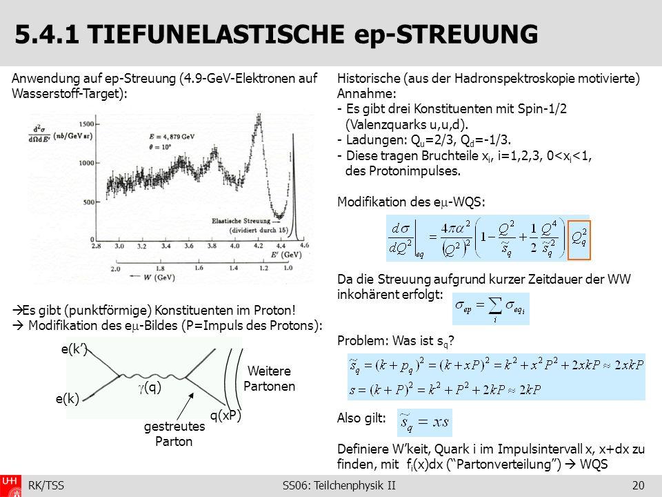 RK/TSS SS06: Teilchenphysik II20 5.4.1 TIEFUNELASTISCHE ep-STREUUNG Anwendung auf ep-Streuung (4.9-GeV-Elektronen auf Wasserstoff-Target): Es gibt (pu