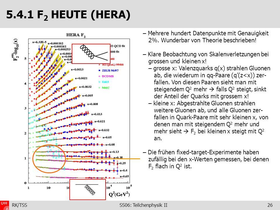RK/TSS SS06: Teilchenphysik II26 5.4.1 F 2 HEUTE (HERA) – Mehrere hundert Datenpunkte mit Genauigkeit 2%. Wunderbar von Theorie beschrieben! – Klare B